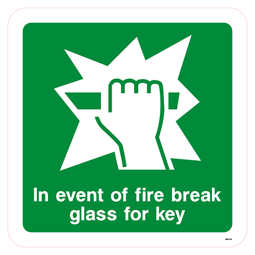 In the event of fire break glass for key