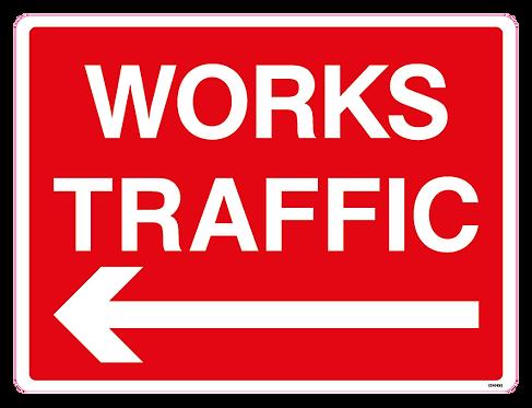 WORKS TRAFFIC Arrow left