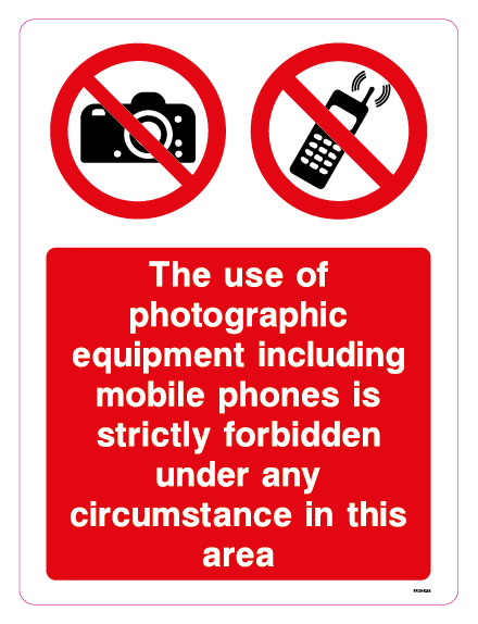 The use of photographic equipment including mobile phones is strictly forbidden