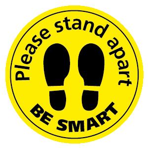 Please stand apart BE SMART floor sticker