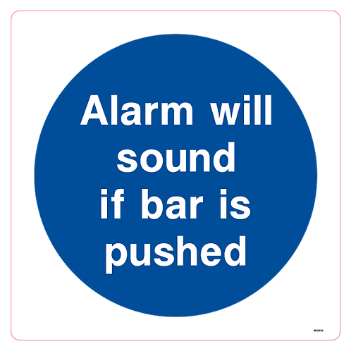 Alarm will sound if bar is pushed