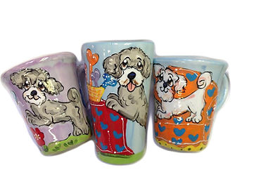 Dog Mug Pet Portrait from photo handpainted on colorful coffee mug latte mug with whimsical pet paintiing