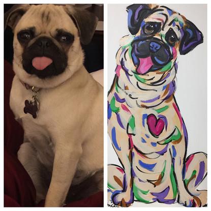 Pug Portrait on Canvas by Debby Carman