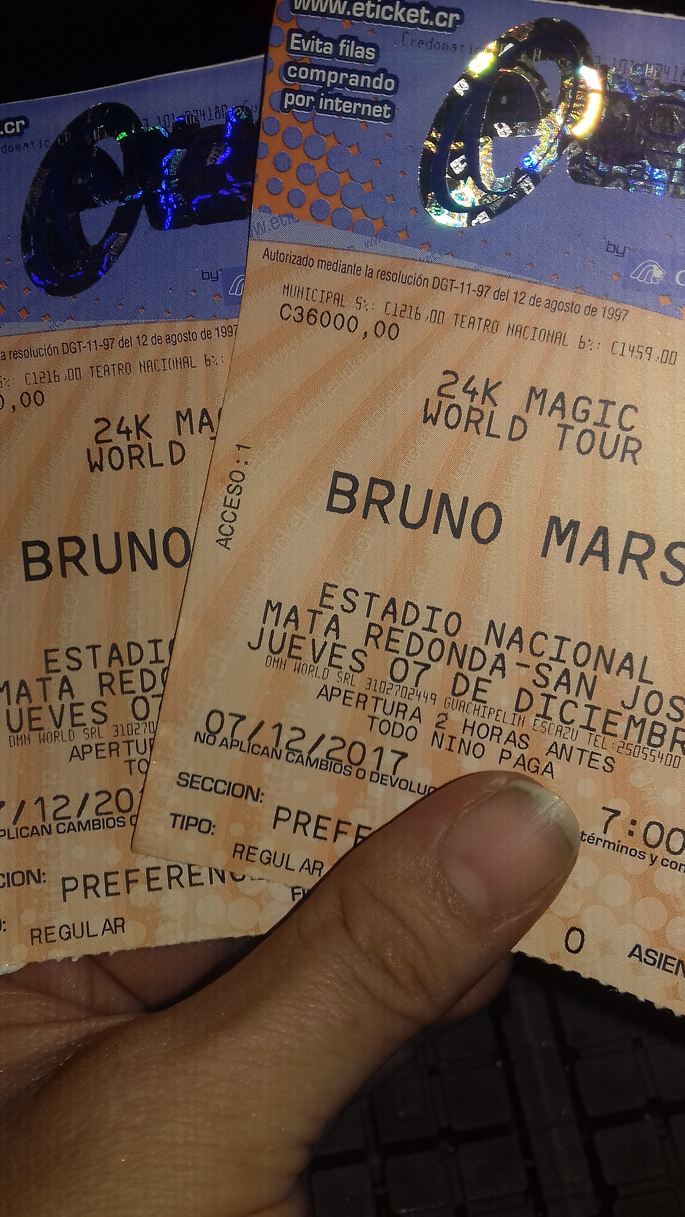 Bruno Mars en Costa Rica 2017
