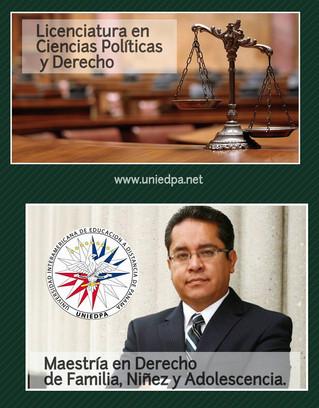 Estudia Licenciatura Cs. Políticas y Derecho. Maestría en Derecho de Familia, niñez y adolescencia.