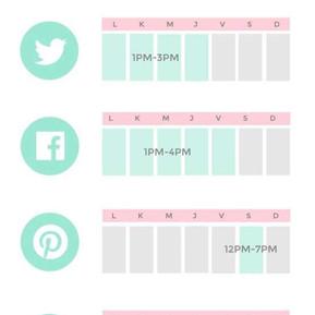 Calendario con las mejores horas y red sociales para subir tus posts listo para imprimir.
