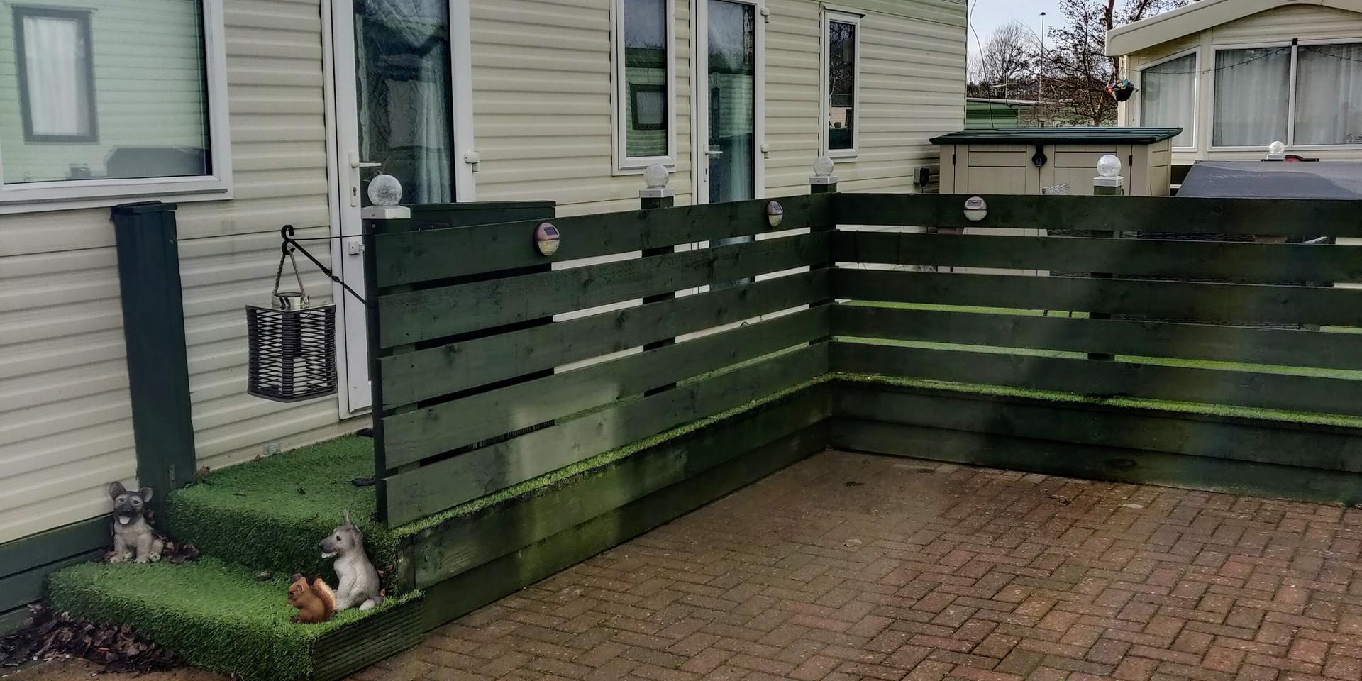 Freshly painted decking & fencing