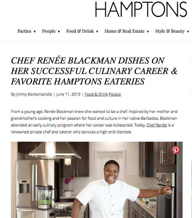Hamptons Magazine Featuring Chef Renee Blackman
