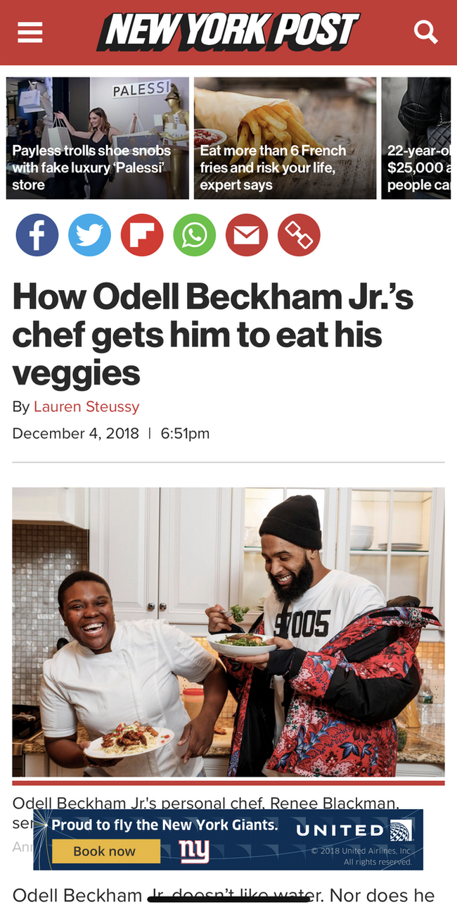 Sneaking Veggies in NFL Super Star Odell Beckham Jr 's food
