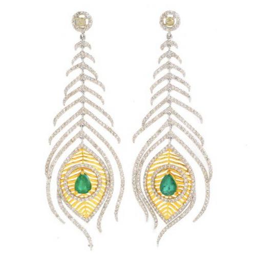 Peacock Feather Eraings