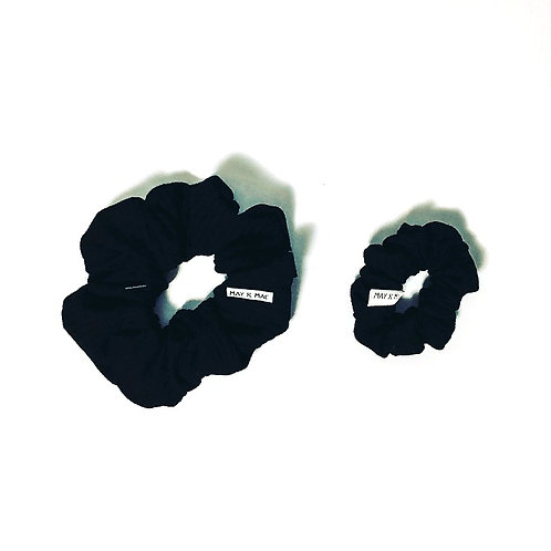 May & Mae -  Black Ribbed Scrunchy