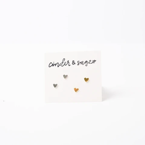 "Cinder & Sage ""Teeny Hearts"" Studs - 2-packs"
