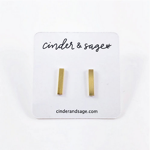 "Cinder & Sage ""Set the Bar"" Studs -  Gold"