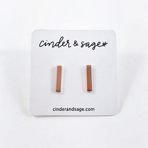 "Cinder & Sage ""Set the Bar"" Studs - Rose Gold"