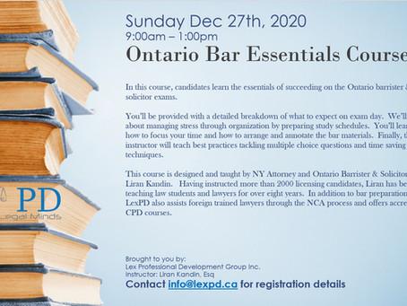 Bar Essentials Course - December 27th 2020