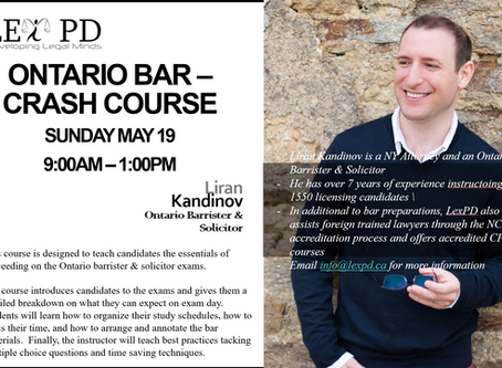 Bar Crash Course for the June 2019 Ontario Barrister & Solicitor exams.