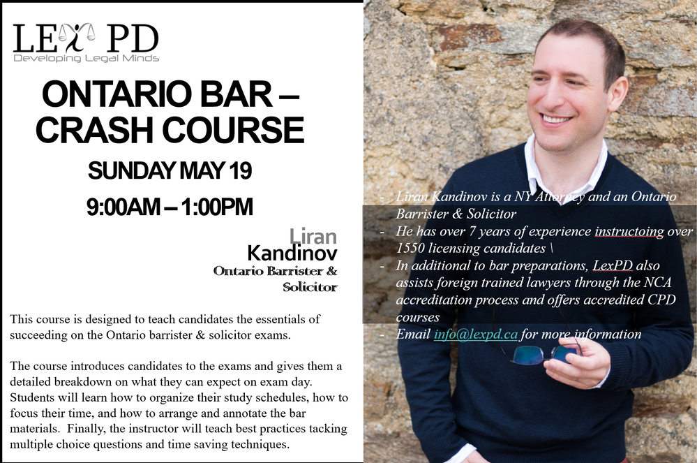 Bar Crash Course for the June 2019 Ontario Barrister