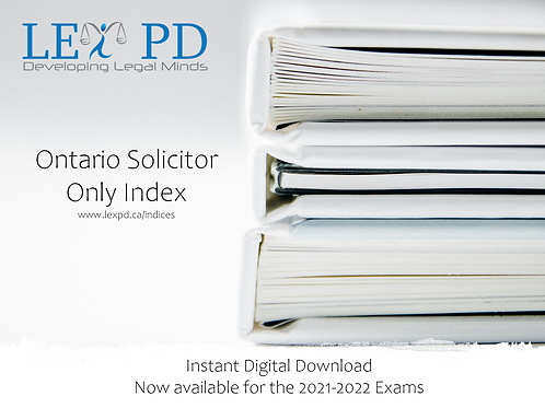 Ontario Solicitor Only Index - 2021-2022