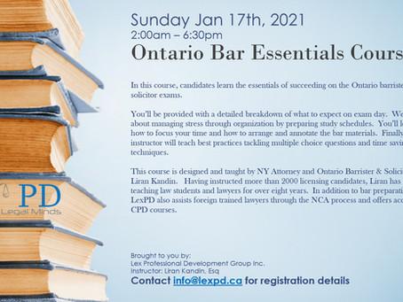 Ontario Bar Essentials Course - Jan 17, 2021