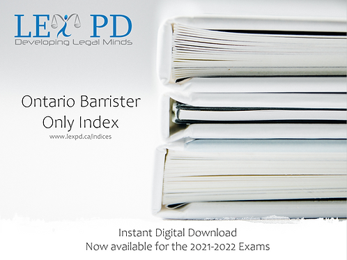 Ontario Barrister Only Index - 2021-2022