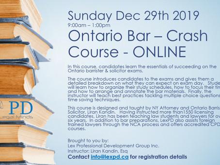 Ontario Bar Crash Course