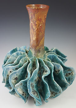 Ceramic art vase inspired by a sea urchin and created by Maui artist