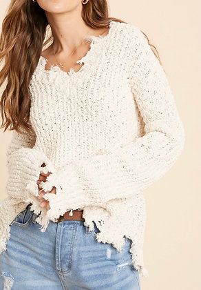 Fray Popcorn V Neck Sweater - Cream