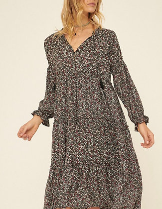 Black Floral Dress - Bubble Sleeve with Tie