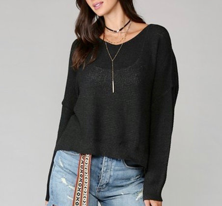 Black Knit Slouchy Sweater