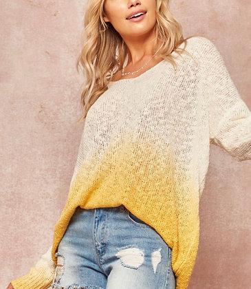 SunshineYellow Ombre Lightweight Sweater