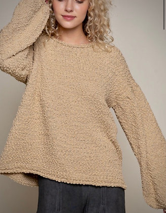 Bubble Sleeve Nubby Pullover