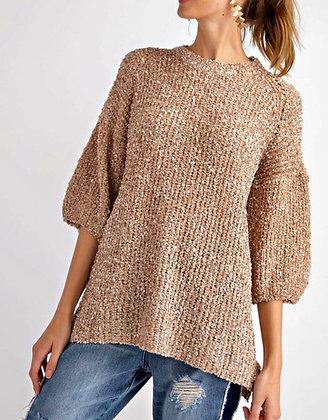 Bubble Sleeve Ribbon Sweater (Mushroom)
