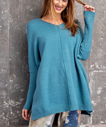 Soft Tunic Sweater - Turquoise