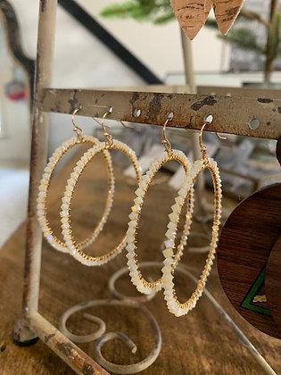 Beaded Hoops - Pearl