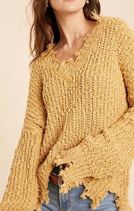 Fray Popcorn V Neck Sweater - Mustard