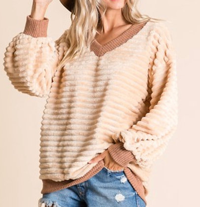 Ribbed Coffee and Cream Slouchy Sweater