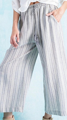 Striped Linen Gaucho Pant (blue and white)