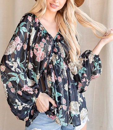 Sheer Floral Cape Top