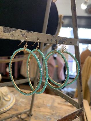 Beaded Hoops - Turquoise