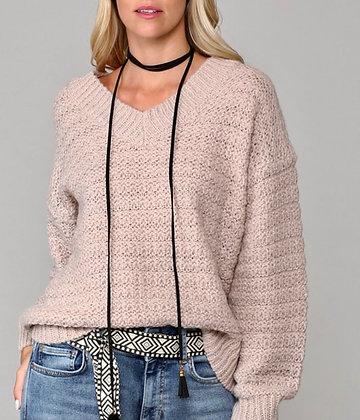Drop Shoulder V Neck Sweater (Pale Pink)