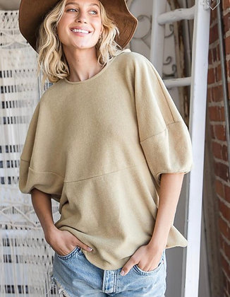 Puff Sleeve Poly Blouse - Mustard