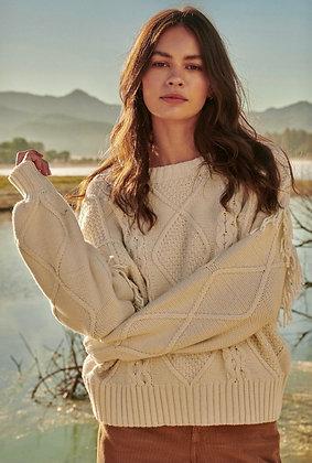 Ivory Fringe Cable Sweater
