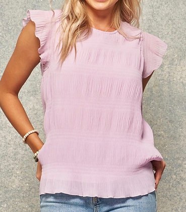 Light Lilac Ruffle Sleeve Top