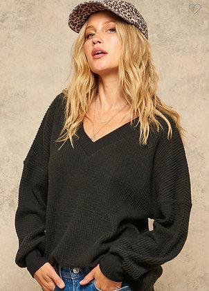 Black V Neck Pullover - Super Soft