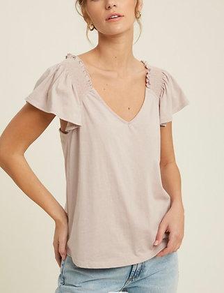 Blush Ruffle Sleeve Top