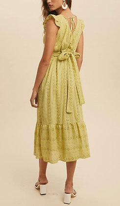 Cotton Eyelet Dress Chartreuse