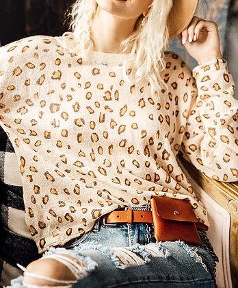 Cheetah Ruffle Sleeve Sweater