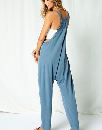 Denim Colored Knit Jumpsuit with Pockets