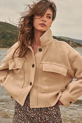 Camel Fleece Button Up Cropped Jacket