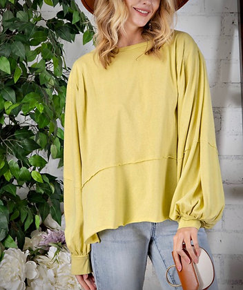 Bubble Long Sleeve Knit Top - Chartreuse
